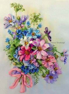 Bouquet of Kosmeja,  picture, made of Silk ribbon embroidery technique. di SilkRibbonembroidery su Etsy