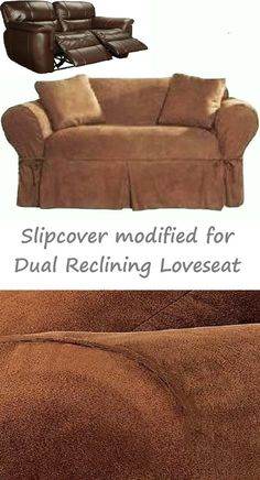 Dual Reclining LOVESEAT Slipcover Heavy Suede Saddle Brown Adapted for Recliner Love Seat & Dual Reclining LOVESEAT Slipcover T Cushion Twill Contrast Taupe ... islam-shia.org