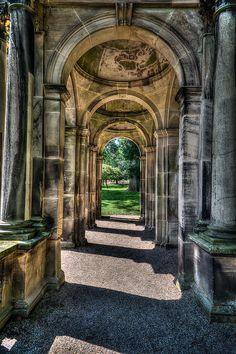 Trentham Hall Ruins in Trentham Gardens, Stoke-on-Trent, England