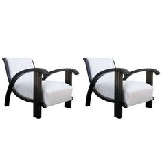 1930s Art Deco Lounge Chair Pair   From a unique collection of antique and modern armchairs at https://www.1stdibs.com/furniture/seating/armchairs/