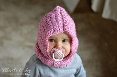 Free Crochet Pattern - Crochet Baby Hooded Cowl   Keep baby warm and cozy in this hood cowl.