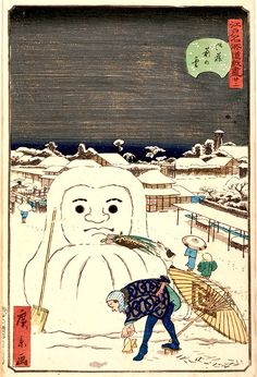 """Snow in front of the official storehouses from the series """"Comical views of famous places in Edo"""", 1859 by Utagawa Hirokage ... Daruma-like snowman"""