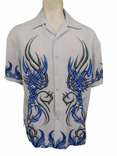 Level 10 Tribal Retro Shirt Size L Large Button Front Rockabilly Short Sleeve #Level10 #ButtonFront