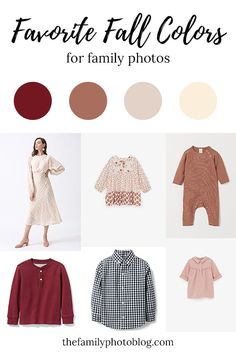 Favorite colors for fall family photo outfits: blush, burgundy, rust, cream and navy! Find outfit ideas in these popular colors! Fall Family Picture Outfits, Family Picture Colors, Family Picture Poses, Family Outfits, Blended Family Photos, Big Family Photos, Fall Family Pictures, Fall Pics, What To Wear Fall