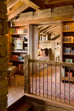 """Turn a random space into a reading loft. """"Reading loft that may have been an Attic. This is awesome! I love the architecture. Cabin Homes, Log Homes, Reading Loft, Reading Nooks, Home Libraries, Public Libraries, Cabins And Cottages, Log Cabins, Wooden Cabins"""