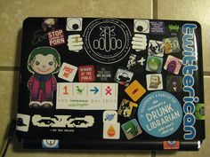 All my stickers are finally here, the laptop is *done*! This is the bunch that goes on the outside top cover. Laptop Stickers, Laptops, The Outsiders, Electronics, Cover, Catalog, Laptop, Consumer Electronics