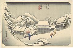 """Utagawa Hiroshige (Japanese, 1797–1858). Evening Snow at Kanbara, from the series """"Fifty-three Stations of the Tōkaidō"""", ca. 1833–34. The Metropolitan Museum of Art, New York. The Howard Mansfield Collection, Purchase, Rogers Fund, 1936 (JP2492) 