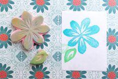 Blue crocus stamp, blossom stamp, hand carved stamp, handmade flower stamp, hand carved crocus stamp, plant stamp, blossom stamp