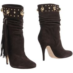 Elisabetta Franchi For Celyn B. Ankle Boots ($445) ❤ liked on Polyvore featuring shoes, boots, ankle booties, dark brown, fringe bootie, leather ankle boots, leather boots, round toe ankle boots and short boots