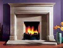 Traditional #stone fireplace. Love the #purple color on the wall. #design