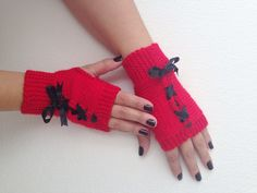 Christmas gift Red and black bow Fingerless Gloves, Wool Mittens, Arm Warmers ribbon, Hand Knitted, Eco Friendly , Winter Accessories