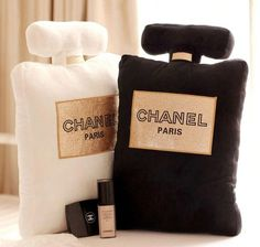 Cute, soft pillow in the shape of Chanel Perfume bottle Comes in 3 colors - White - Black - Pink Pre-order item. Please allow weeks for delivery Size: x x x x Chanel Room, Chanel Decor, Chanel Bedding, Cute Pillows, Soft Pillows, Throw Pillows, Perfume Chanel, Paris Perfume, Glam Room