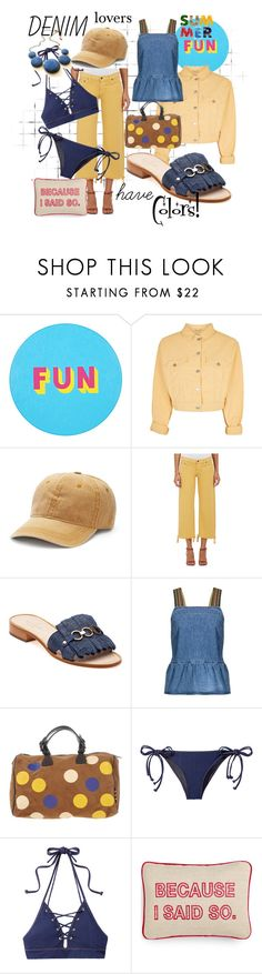 """""""denim lovers have colors!"""" by caroline-buster-brown ❤ liked on Polyvore featuring Lisa Perry, Topshop, Mudd, Simon Miller, Kate Spade, M.i.h Jeans, Manila Grace, Jonathan Simkhai, Celebrate Shop and alldenim"""
