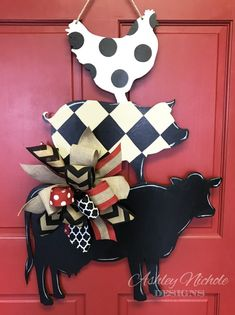 """This cute and whimsical Cow-Pig-Chicken trio would be a great addition to your kitchen! Hand painted in the USA! Made using ¼"""" plywood with a painted back for a more polished look. Height 32 x Width 22 Wooden Door Hangers, Wooden Doors, Wooden Signs, Cross Door Hangers, Classic Doors, Sweet Home, Modern Door, Modern Barn, Wood Cutouts"""