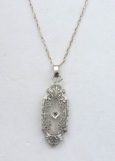 "Antique Deco 14k White Gold Camphor Glass Diamond Filigree Pendant Necklace 17""  #Unbranded #FiligreeArtDecoPendant"