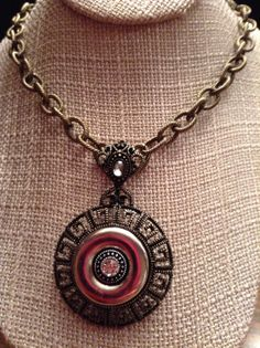 Antique Gold Looped Chain and Pendant Necklace by ErinMichellesJewelry on Etsy, $15.00