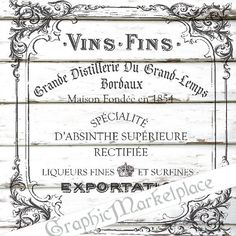 Wine French Coaster Transfer Instant by GraphicMarketplace on Etsy