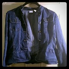Stretch jean jacket mandarin collar Gently worn Covington Jackets & Coats Jean Jackets