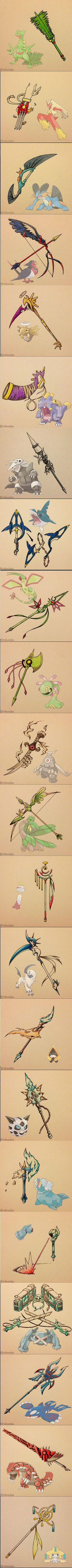 Various Pokemon as cool-ass weapons! Wish I could design stuff like these for GateKeeper! TwT I'm having problems with weapon/armor creation right now, and LoL dat 3DMetaGross, tho! XD: