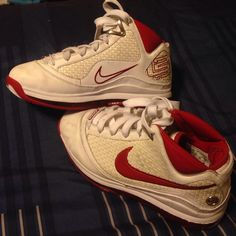 Lebron James Nikes Red and white Lebron James Nikes.  Still in excellent condition!!  Nike Shoes Sneakers