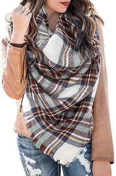 Yanekop Womens Plaid Blanket Scarf Big Square Scarves Warm Tartan Checked Shawl