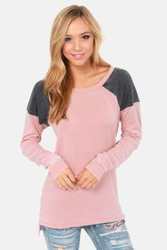 Others Follow Slouchy Grey and Pink Sweater