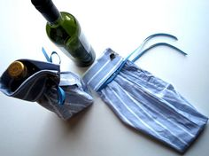 "Shirt sleeve gift bottle bags - I LOVE this idea! ""Oh Amy..."" :))"