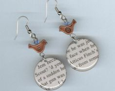 To Kill a Mockingbird Earrings Recycled Book bird Jem Scout Atticus Finch