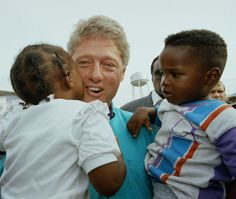 Democratic presidential candidate Gov. Bill Clinton gets a warm welcome from two young unidentified Hurricane Andrew victims in Florida City  Thursday, Sept. 3, 1992, when he toured the devastation caused by the storm in Florida City and Homestead, Fla. (AP Photo/Lynne Sladky) via @AOL_Lifestyle Read more: http://www.aol.com/article/2016/10/04/reporter-confronts-bill-clinton-over-hillarys-alleged-cheating/21507845/?a_dgi=aolshare_pinterest#fullscreen
