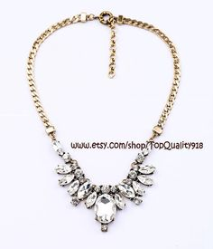 Hot shine Czech crystal fashion necklace, statement bib beaded pendant necklace with chain, bridesmaid party wedding