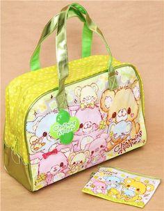 green dotted kawaii bear plastic glitter bag from Japan