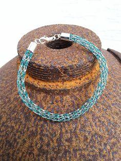 "Viking Knit - Armband ""Stripes"" türkis"