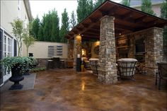 Staining concrete can be an inexpensive way to update the exterior look of your home. Acid stain can be one of the cheapest things you can do and it provide