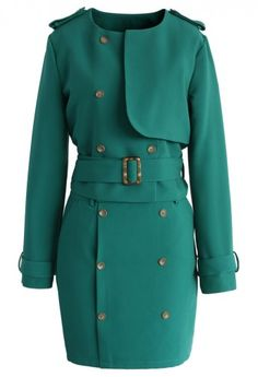 Double Breasted Flap Coat and Skirt Set in Emerald