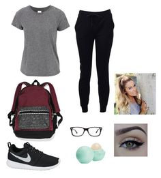 """""""lazy day outfit for school"""" by fashionlover2099 ❤ liked on Polyvore featuring T By Alexander Wang, NIKE, Victoria's Secret, Eos, Ray-Ban and xO Design"""