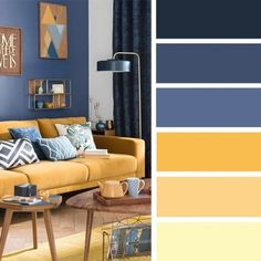Good Living Room Colors, Living Room Color Schemes, Living Room Designs, Blue Yellow Living Room, Yellow Walls, Home Living Room, Living Room Decor, Apartment Living, Mustard Living Rooms