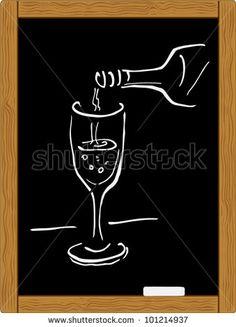 chalkboard chalk sketch of glass wine and bottle. vector