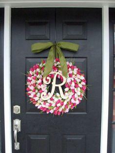 Pink Tulip Mother's Day monogram wreath!
