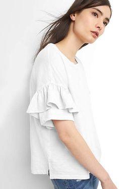 835b409f182a59 Gap Ruffle Short Sleeve Crewneck T-Shirt Ruffle Shorts, Ruffle Sleeve,  Ruffle Blouse