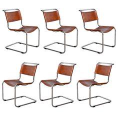 Mies Van Der Rohe 6x Cognac Color Seats.