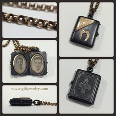 This is the most wonderful c1860 9k and gunmetal locket on a faceted chain! We especially love the pictures inside. $545. Call to purchase. #giltjewelry #victorian #gunmetal #horseshoe #lucky #locket #antiquelocket  #antiquejewelry