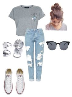 """Out of this WORLD!"" by bigdaddyweave16 ❤ liked on Polyvore featuring New Look, Topshop, Converse and Quay"