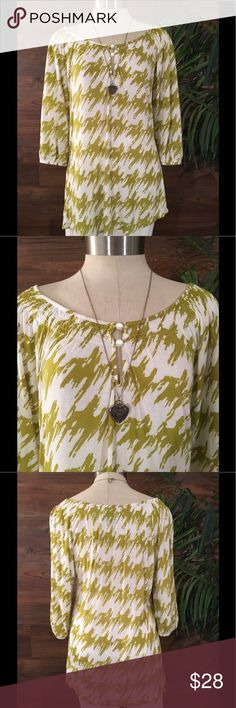 Deletta Printed Blouse Green and cream printed Blouse with front button detail and 3/4 sleeves Anthropologie Tops