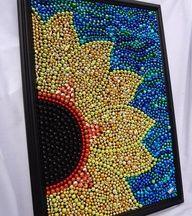 Items similar to Sunflower Art, original Mardi Gras bead mosaic design, yellow, . Crafts To Do, Bead Crafts, Arts And Crafts, Sunflower Art, Giant Sunflower, Mardi Gras Beads, Dot Art Painting, Mosaic Designs, Pony Beads