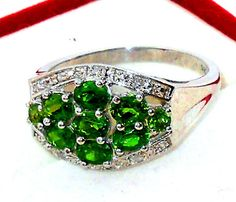 Green Russian Chrome Diopside Diamond Ring  size 7  #Unbranded #Band http://stores.ebay.com/JEWELRY-AND-GIFTS-BY-ALICE-AND-ANN