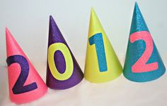 new years party hats. easy to make decoration..,