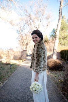 leopard fur + wedding dress...love this look!