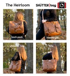 The Heirloom bag by SHUTTERbag can be worn so many ways. It comes with five straps, so you can transform it as many ways as you can think of. It can hold your gear and a laptop. Made of genuine leather, too.  #photography #photographer #camerabga #bag Camera #laptop #laptopbag #diaperbag #tote #leather #genuineleather