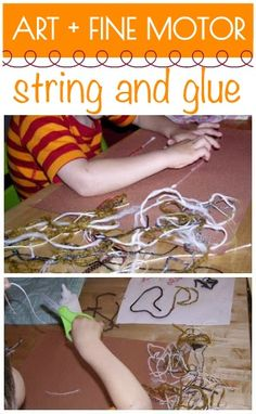 Glue string and yarn down on paper for a kid art project that also works fine motor skills.