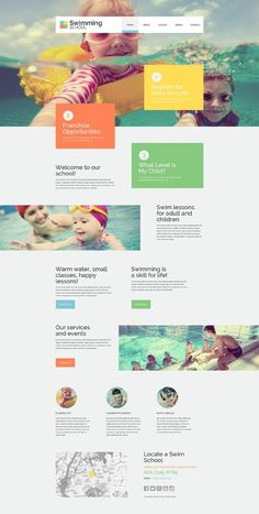 Kids Swimming School Website Template - How To Make A Website - Ideas of How To Make A Website - Website Layout, Website Themes, Website Ideas, Simple Website, Website Design Inspiration, School Website Templates, School Template, Web Design School, Layout Design